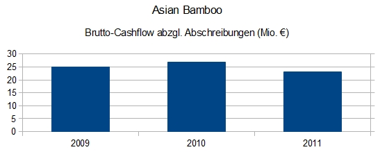 Asian Bamboo - Brutto-Cashflow abzgl. Abschreibungen